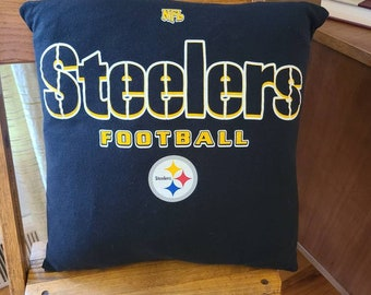 Recycled Steelers T Shirt Pillow Cover / Repurposed T Shirt 16 inch pillow cover