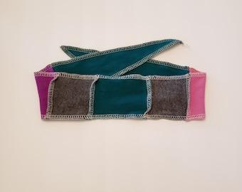 Pink Blue Grey Patchwork Fabric Adjustable Head Band Soft Jersey Headband