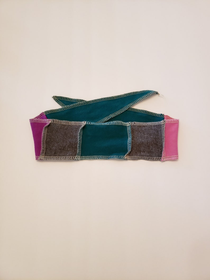 Pink Blue Grey Patchwork Fabric Adjustable Head Band Soft image 0