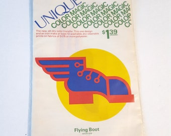 Vintage Unique Color Magic Hot Iron Transfer Flying Boot / Retro Color Transfer