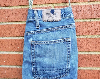 Upcycled Denim Crossbody Bag / Casual Blue Jean Purse / Recycled Jeans Crossbody Purse