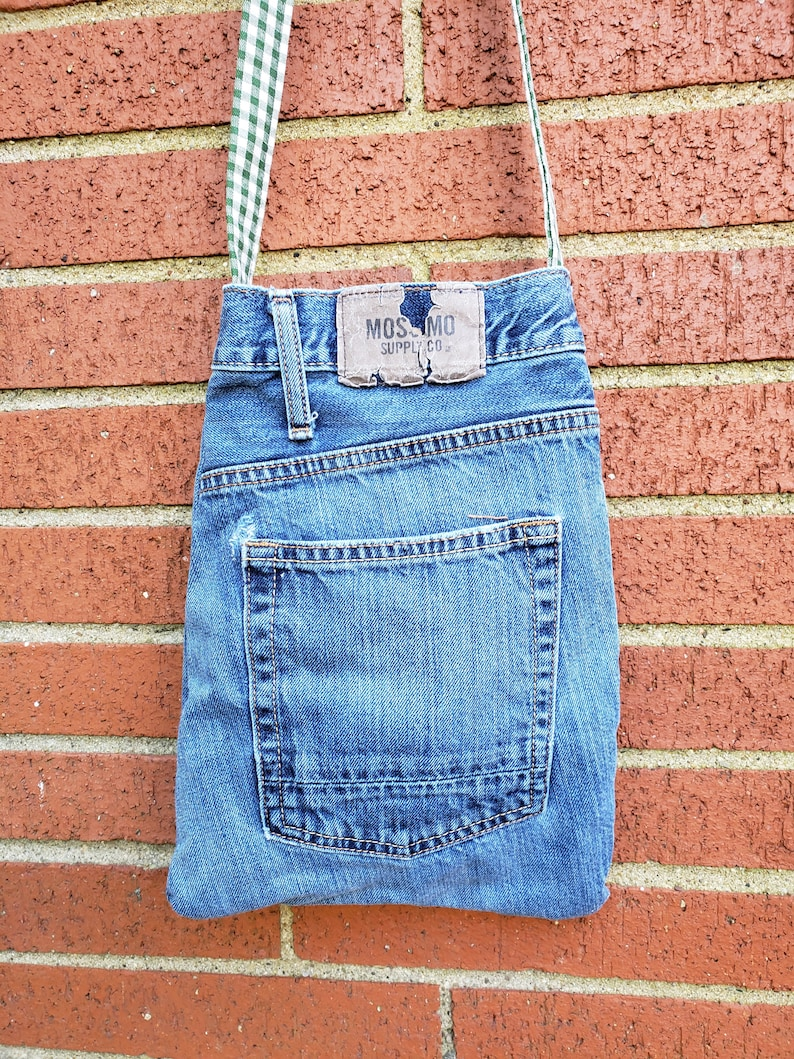 Upcycled Denim Crossbody Bag / Casual Blue Jean Purse / image 0