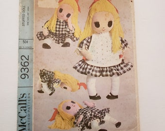Cloth Doll / Uncut Vintage Doll Pattern / McCall's 9362 Stuffed Doll / Mid Century Doll Pattern / Doll Made from t shirt