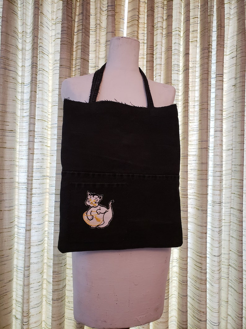 Black Denim Purse / Upcycled denim boho tote bag / Vintage image 0