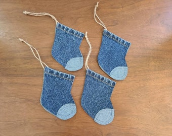 Small Denim Christmas Stocking Ornaments / Set of 4 / Gift Card Holders