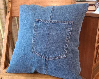 Recycled Blue Jean Pillow Cover / Repurposed T Shirt 16 inch pillow cover / Remote Holder Pillow Cover