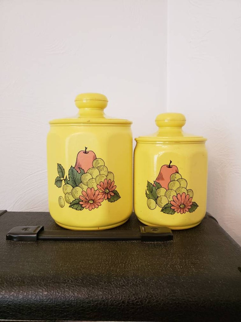 Yellow Canisters / Vintage Canister Set / Fruit Kitchen Motif image 0