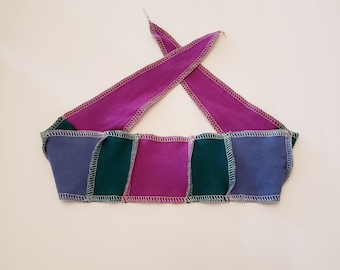 Purple and Blue Patchwork Head band / Adjustable and Reversible / Soft Jersey Headband