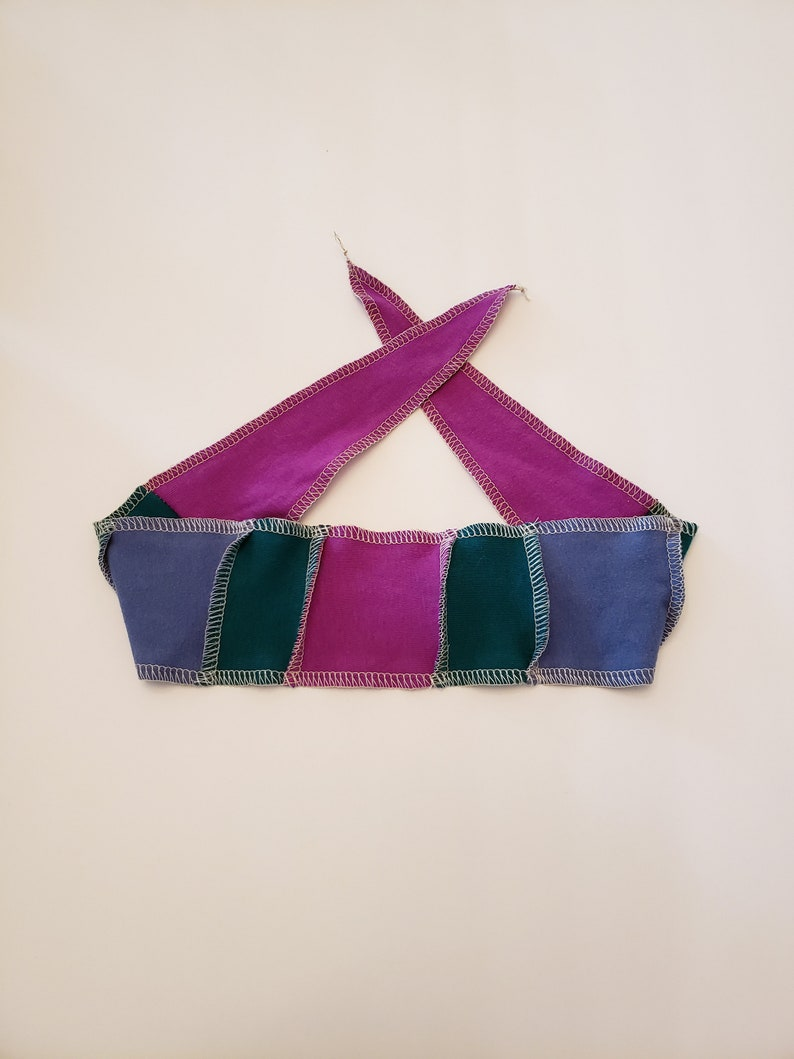 Purple and Blue Patchwork Head band / Adjustable and image 0