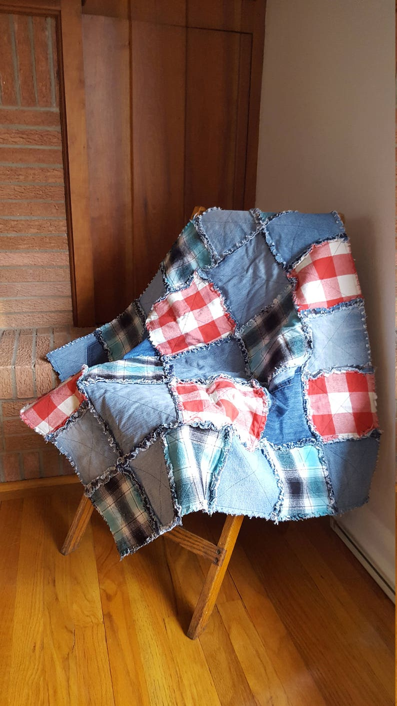 Patchwork Recycled Denim Rag Quilt / Repurposed Clothing / Lap image 0