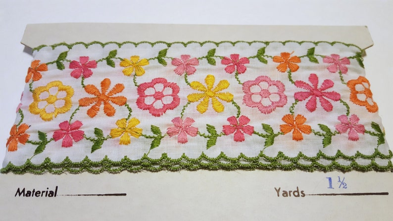 Vintage Floral Trim / Pink Yellow Flowers / Lightweight Floral image 0