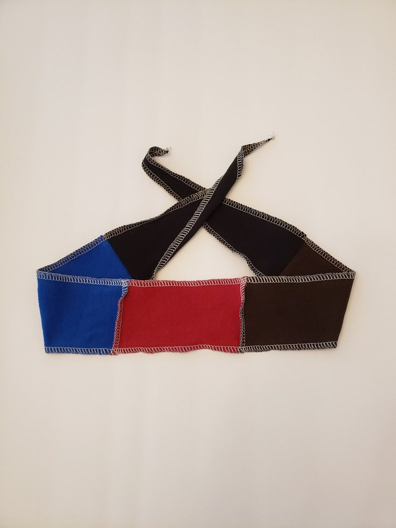 Soft Jersey Headband / Red Brown Blue / Tie Head Band / image 0
