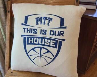 Pitt Basketball Pillow Cover / Repurposed T Shirt 16 inch Pillow Slip Cover