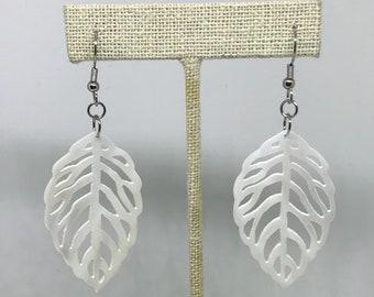 Mother of pearl leaf design earrings pair - white , summer pair
