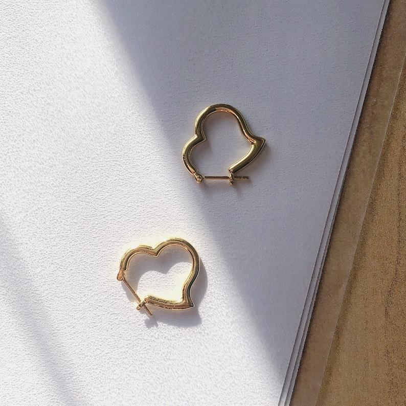 love you sterling silver Heart hoops everyday hoop earrings