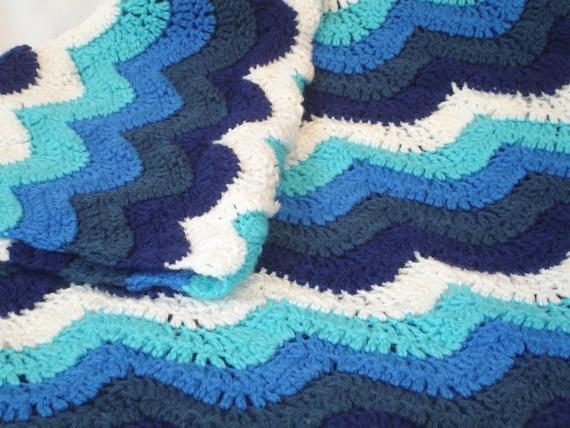 Gehäkelte Decke Wellen des Ozeans Gehäkelte Decke in schönen | Etsy