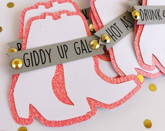 cowgirl boot bachelorette party pins name tags