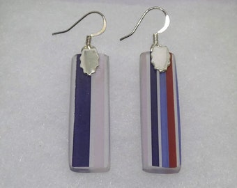 Three Olives Purple Recycled Glass Bottle Earrings  - FREE SHIPPING