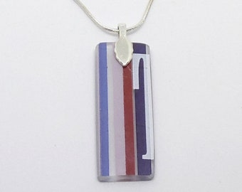 Three Olives Purple Recycled Glass Bottle Pendant - FREE SHIPPING