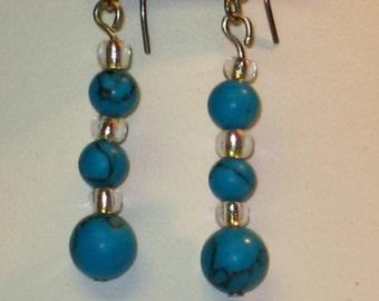 Sterling silver Turquoise Beaded Drop Earrings