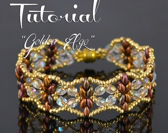 GOLDEN AGE Superduo bead pattern Beading tutorial Beaded bracelet pattern Seed beads lace bracelet Fire polished beads - Tutorial Only
