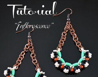 INFLORESCENCE Beading tutorial Beading pattern Beaded earrings pattern with CzechMates 2 hole Superduo Rulla Tile Seed beads - Tutorial Only