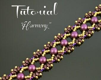 HARMONY Beading tutorial Beading pattern Beaded bracelet pattern with Cabochon MiniDuo Seed Beads Beadweaving Beaded jewelry - TUTORIAL ONLY