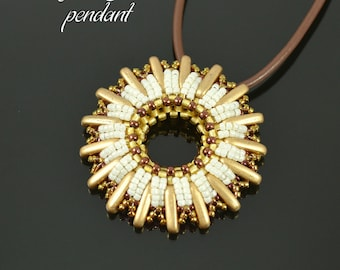 The Sun Pendant beading pattern, pendant tutorial, beading tutorial, seed bead pattern, ChechMates Beam pattern / TUTORIAL ONLY