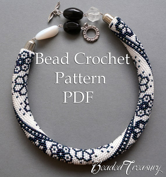 Winter Lace Bead Crochet Pattern Beaded Flowers Necklace Seed Bead
