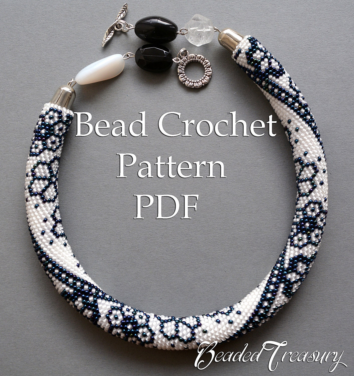 Winter Lace Bead Crochet Pattern Beaded Flowers Necklace Seed Etsy