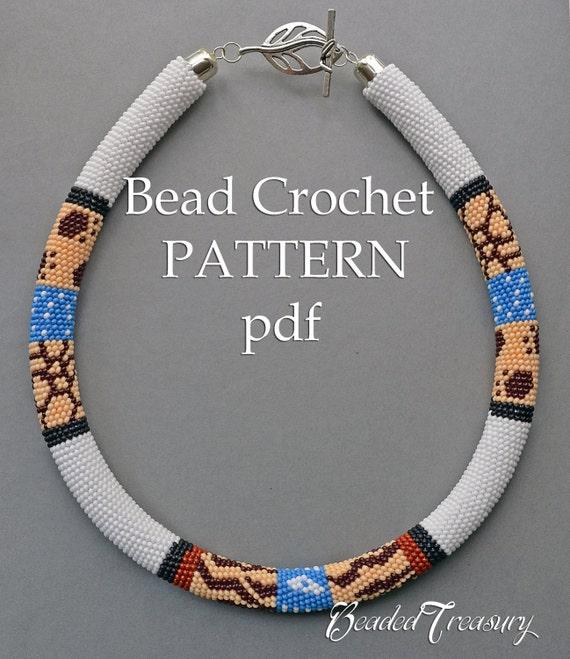 Safari Bead Crochet Pattern Seed Bead Necklace Pattern Beaded Etsy