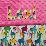 "Baby Girl Stacked Giraffe Minky Blanket with Appliqued Name 30""x36"""