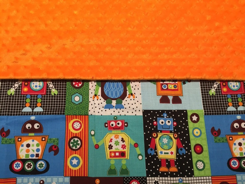 Robot Minky Blanket with Appliqued Name 30 x 36