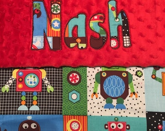 """Robot Minky Blanket with Appliqued Name 30"""" x 36"""""""