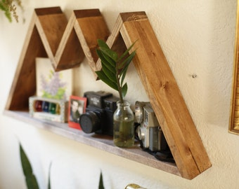 Mountain Range Shelf. Triangle Shelf. Geometric Shelf. Hipster Apartment. Bohemian Shelf. Modern Shelf.