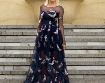 Romantic homecoming dress, evening gown in blue. Long prom dress with birds, Tulle evening dress, Sleeved blue prom dress, Reception Dress