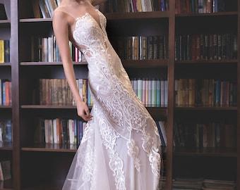 Lace wedding country rustic dress, Low waist sheath white bridal dress, Lace transparent White bridal gown, Chantilly lace wedding dress.
