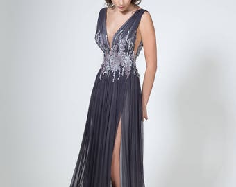 Backless evening dress in gray, Sexy prom dress with slit, Silk evening gown with open back, Long Graphite dress, Handmade evening dress