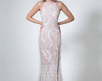 Modest wedding dress in pink, Feathers wedding dress with sleeves, Pink bridal dress, Long wedding dress with slit, Couture wedding dress