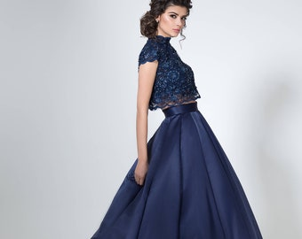 165eeb881be7 Two piece lace and satin dress, Navy blue evening dress, Cap sleeves prom  dress, Crop top and skirt set Floral lace bodice Long evening gown