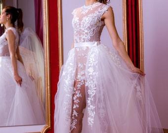 Wedding jumpsuit in white, Lace wedding romper, birdal or wedding jumper, bridal playsuit, Alternative wedding dress with detachable skirt
