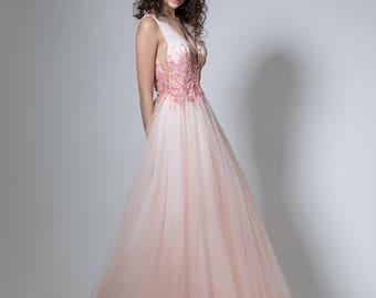 Flower wedding dress in peach Color wedding gown, Ombre wedding dress, Long bridal gown peach, Boho bridal dress, sleeveless wedding dress