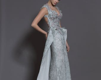 Backless wedding dress in gray, Alternative wedding dress with open back, Unique wedding gown, Handmade designer wedding dress in grey