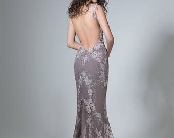 Sexy prom dress in gray, Backless formal dress, Open back elegant dress, Long prom gown with flowers, Maid of honor dress