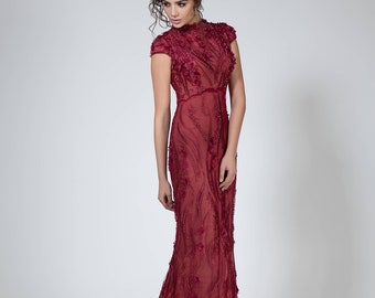 Wine red Mother of the bride dress long prom gown. Red formal gown, Sleeveless evening dress, fitted prom dress with beads, Red carpet dress