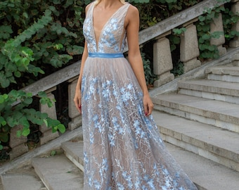 Sexy mother of the groom dress, Blue evening gown, Sleeveless prom dress, Gray Blue mother of the bride dress, Floral formal dress in gray