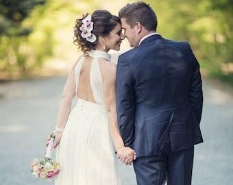 Chiffon wedding dress, Simple & Casual bridal gown, Modest wedding dress in sheath silhouette from chiffon