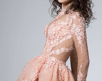 Short wedding dress in Peach, Sexy wedding dress with sleeves, Short bridal dress in pink wedding dress with plunge, summer wedding dress