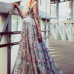 Flower wedding dress in gray, Color wedding dress with sleeves, Bridal dress Long wedding gown in grey, Embroidered wedding dress from tulle