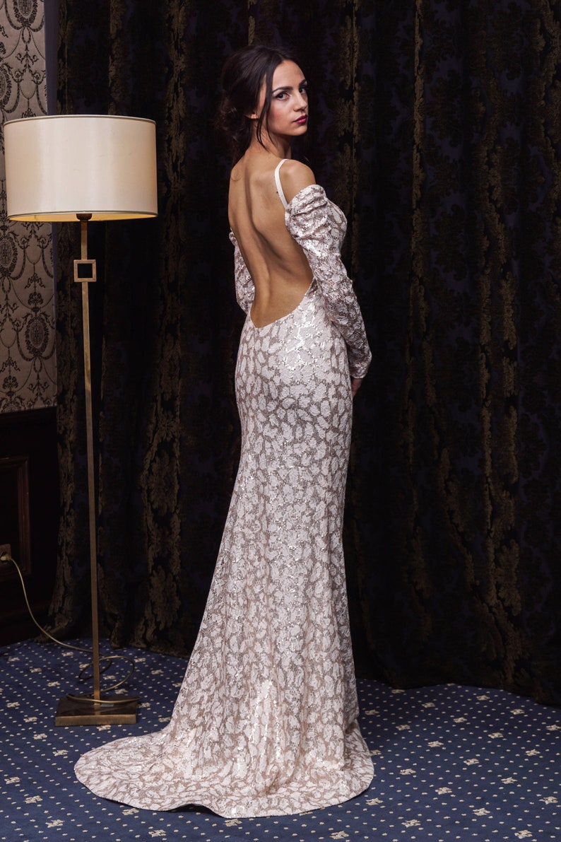 d894a937c03 Sequin wedding dress with open back Long sleeve Sheath